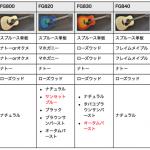 FG800,FG820,FG830,FG840,FG850の違いを比較する!【YAMAHA初心者用アコギ】